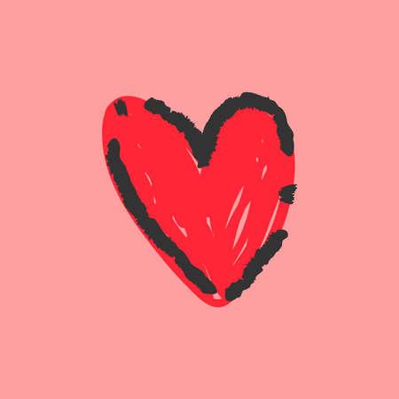Hand drawn heart illustration. Love symbol doodle.