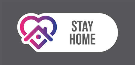 Stay home campaign symbol. House and heart icon.