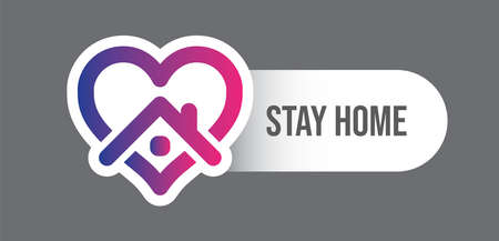 Stay home campaign symbol. House and heart icon. Vector Illustration
