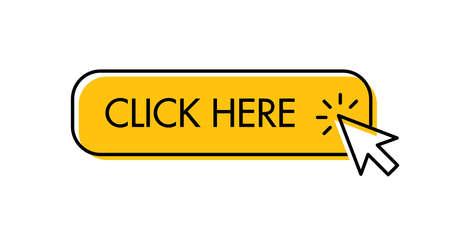 Click here button with arrow pointer clicking. Cursor pointer.