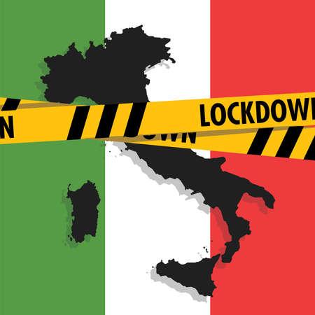 Italian map with lockdown tape. Coronavirus pandemic outbreak quarantine. 向量圖像