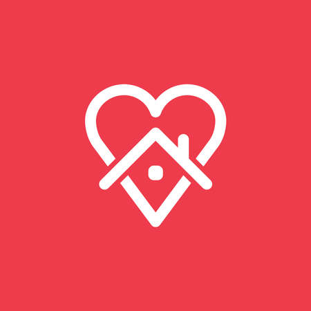 Heart icon with house shape within. Stay at home campaign symbol. Vector illustration. Quarantine love. Иллюстрация