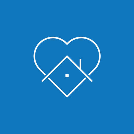 Heart icon with house shape within. Stay at home campaign symbol. Vector illustration. Quarantine love. 矢量图像
