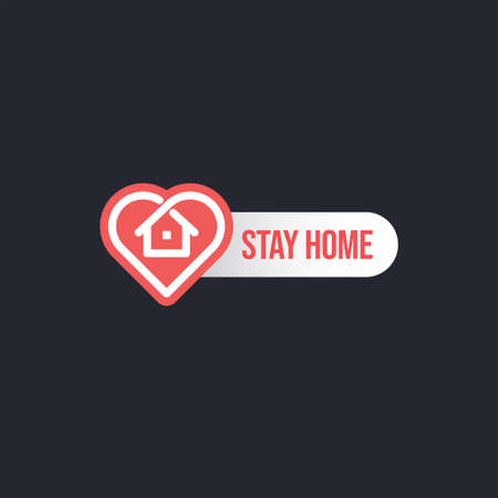 Stay home badge design with house and heart combined icons. Healthcare in coronavirus cuarantine times.