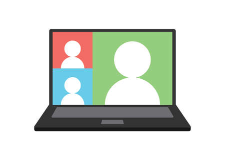 Video conference meeting in computer screen. Remote work. Group video call vector illustration icon.
