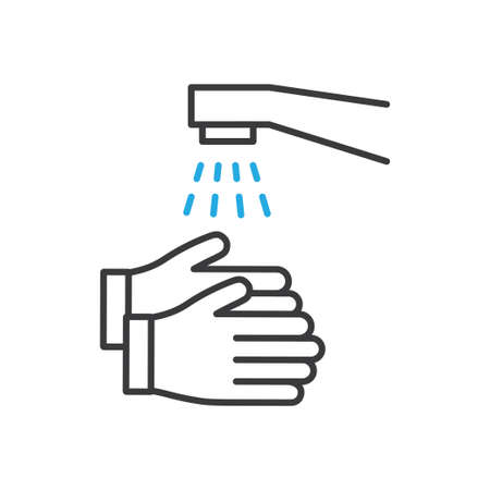 Wash your hands vector icon. Vector line art illustration.