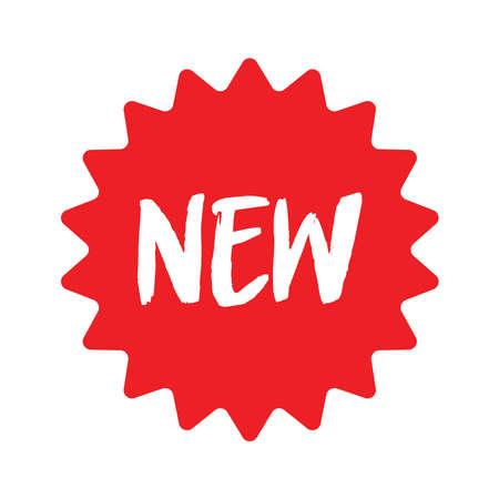 Nouveau signe. Autocollant de vente rouge. étiquette étoile rouge. Bannière de promotion de boutique en ligne. Illustration isolée. Offre spéciale.