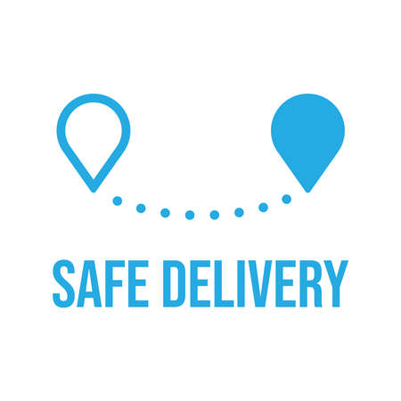 Safe delivery icon, safety measures for shipping concept. Package shipment vector in quarantine times for coronavirus outbreak. Illusztráció