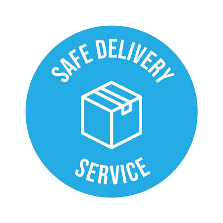 Safe delivery icon, safety measures for shipping concept. Package shipment in quarantine times Illusztráció