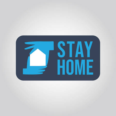 Stay at home message. Illustration of hands forming house icon. Protection campaign from coronavirus pandemic. Quarantine slogan.