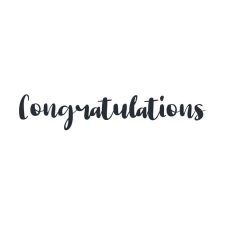 Congratulations text, hand drawn style lettering message.