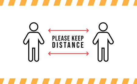 Keep distance sign. Please maintain social distancing. Coronavirus preventive measures to protect yourself. Vector illustration. Vektorové ilustrace