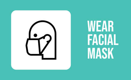 Medical face protection mask icon. Man using protective surgical mask for coronavirus prevention. Linear art vector.