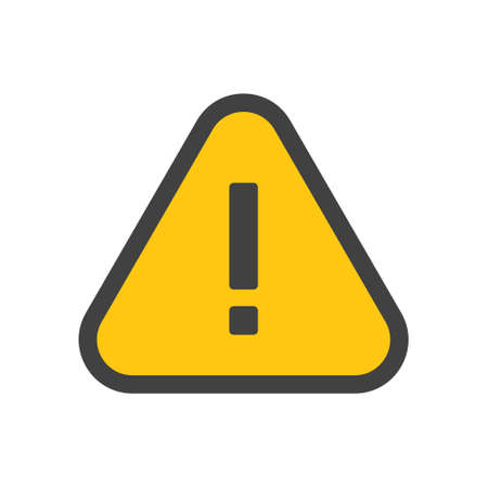 Alert icon, triangle shape with exclamation mark. Warning attention sign. Vetores