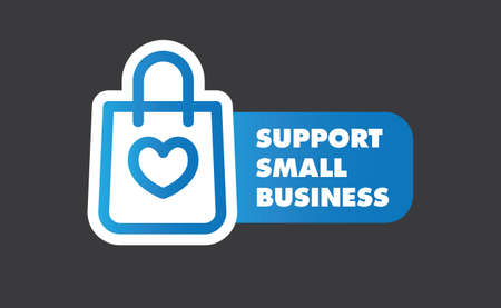 Support small business sticker. Popular Social Media design. Vector file. Buy local.