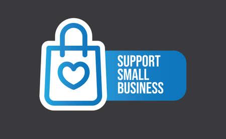 Soutenir l'autocollant de petite entreprise. Conception de médias sociaux populaires. Fichier vectoriel. Achetez local.
