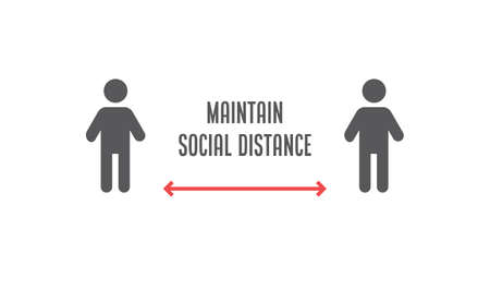 Social Distancing sign. Person standing at safe distance vector icons.