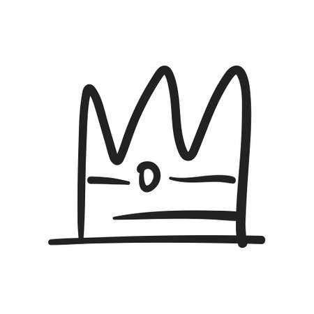 Crown doodle. Hand drawn king, queen, prince or princess royal symbol.