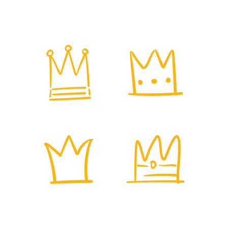 Crown doodle collection. Hand drawn set of king, queen, prince and princess crowns.