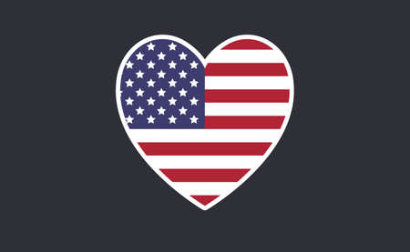 USA flag in a shape of heart. Patriotic national symbol of United States of America. Independence day graphic design element. Simple flat vector illustration.