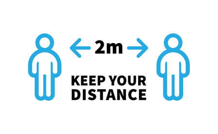 Social distancing safety measure sign. Keep your distance 2 meters away. Person standing vector icon. Vektorové ilustrace