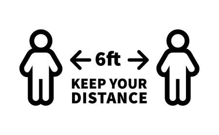 Social distancing safety measure sign. Keep your distance 6 feet away. Person standing vector icon. 일러스트