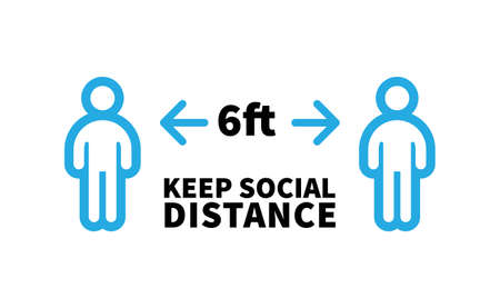 Social distancing safety measure sign. Keep your distance 6 feet away. Person standing vector icon.