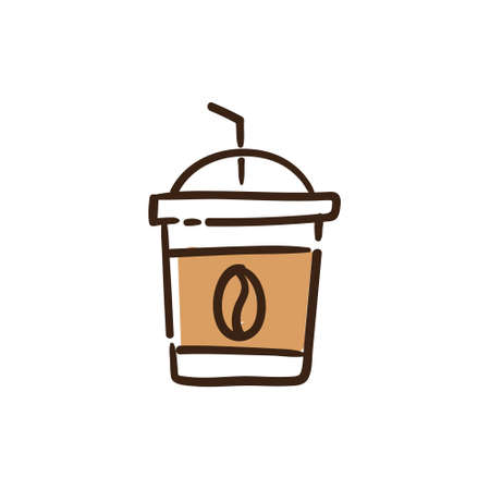 Ice coffee hand drawn illustration. Cafeteria Doodle icon.