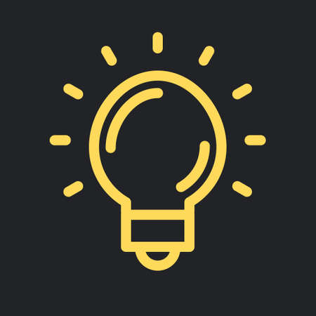 Idea icon, shinning light bulb. Electric lamp linear pictogram. Bright solution symbol.