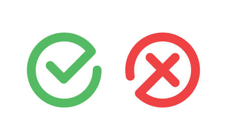 Check mark icons. Green tick symbol and red x sign in circle. Icons for evaluation quiz. Vector. 向量圖像