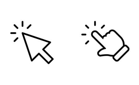 Hand and arrow clicking pointers. Click icons.