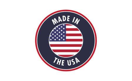 Made in USA badge. United States of America flag colors. American patriotism sign. Ilustração