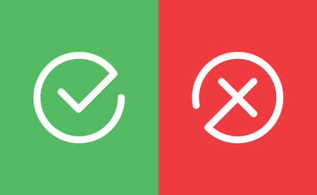 Check mark icons. Green tick symbol and red x sign in circle. Icons for evaluation quiz. Vector. Ilustrace