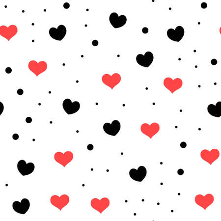 Hearts and dots seamless pattern. Loop texture background. Valentine's day love theme design. 向量圖像