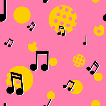 Musical notes seamless pattern in colorful 80s style. Pop music texture background.