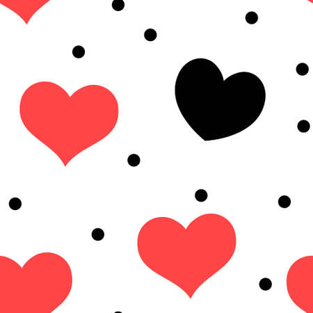 Hearts and dots seamless pattern. Loop texture background. Valentine's day love theme design. Vettoriali