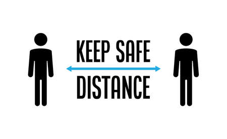 Keep your distance. Social preventive measure for coronavirus prevention. Warning sign with person icon.