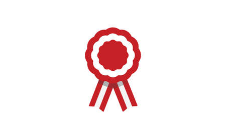 Peruvian cockade vector illustration. National symbol with Peru flag colors. Red and white rosette ribbon. Ilustración de vector