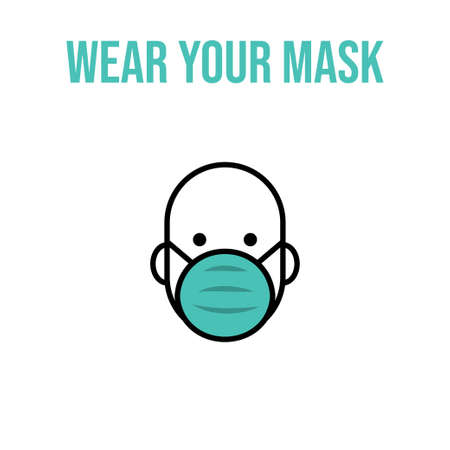 Man in face mask line icon, vector pictogram of pandemic virus prevention. Protection wear from coronavirus, air pollution, dust, flu illustration. Sign for medical equipment store. Wear your mask.