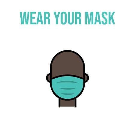 Person wearing face mask vector icon. Coronavirus pandemic protection.