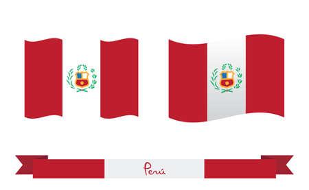 Flag of Peru. Peruvian national symbol vector illustration. Vettoriali