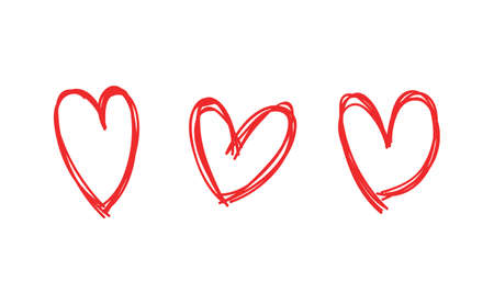 Heart doodles collection. Hand drawn hearts. Vector illustration set. Vettoriali