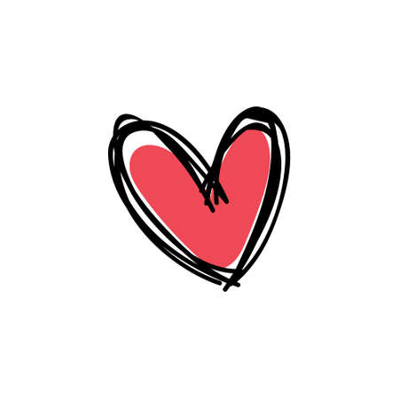 Heart doodle icon, symbol of love. Hand drawn illustration.