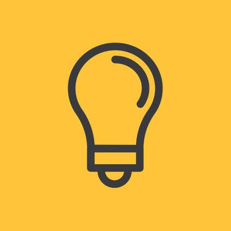 Idea icon, light bulb linear pictogram. Vector outline design. Symbol of creativity and innovation. Vettoriali