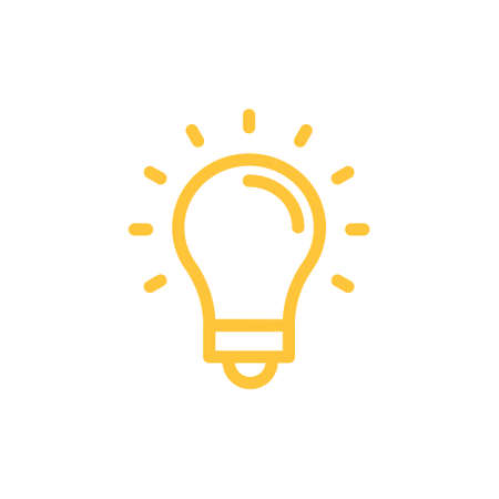 Idea icon, shinning light bulb. Electric lamp linear pictogram. Bright solution symbol.