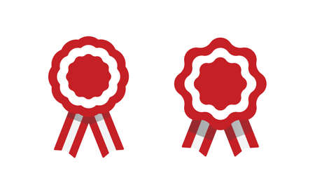 Peruvian cockade vector illustration. National symbol with Peru flag colors. Red and white rosette ribbon. Vettoriali