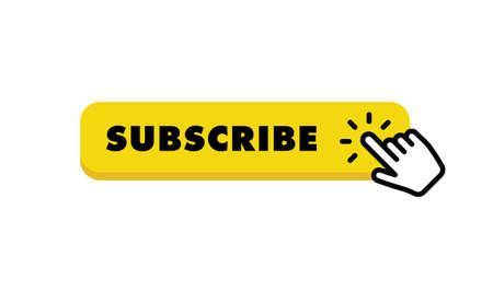Subscribe button with hand click icon. Finger pointer clicking web site call to action. Click vector.