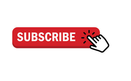 Subscribe button with hand click icon. Vettoriali