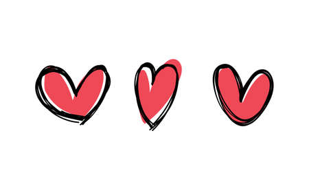 Heart doodles collection. Hand drawn hearts. Vector illustration set. Illustration
