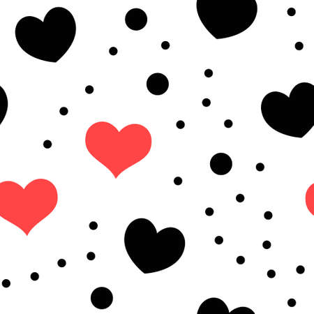 Hearts and dots seamless pattern. Loop texture background. Valentine's day love theme design. Illustration